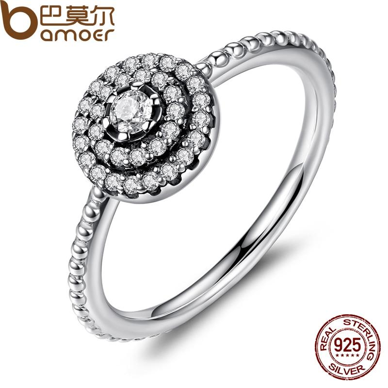 BAMOER 925 Sterling Silver Round Shape Radiant Elegance, Clear CZ Flower Finger Rings for Women ANNIVERSARY SALE 2018 PA7178