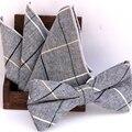 Compruebe bowknot conjunto Clásico de algodón Jacquard Tejida Hombres Pajarita de Mariposa BowTie Pocket Square pañuelo Pañuelo Set Suit
