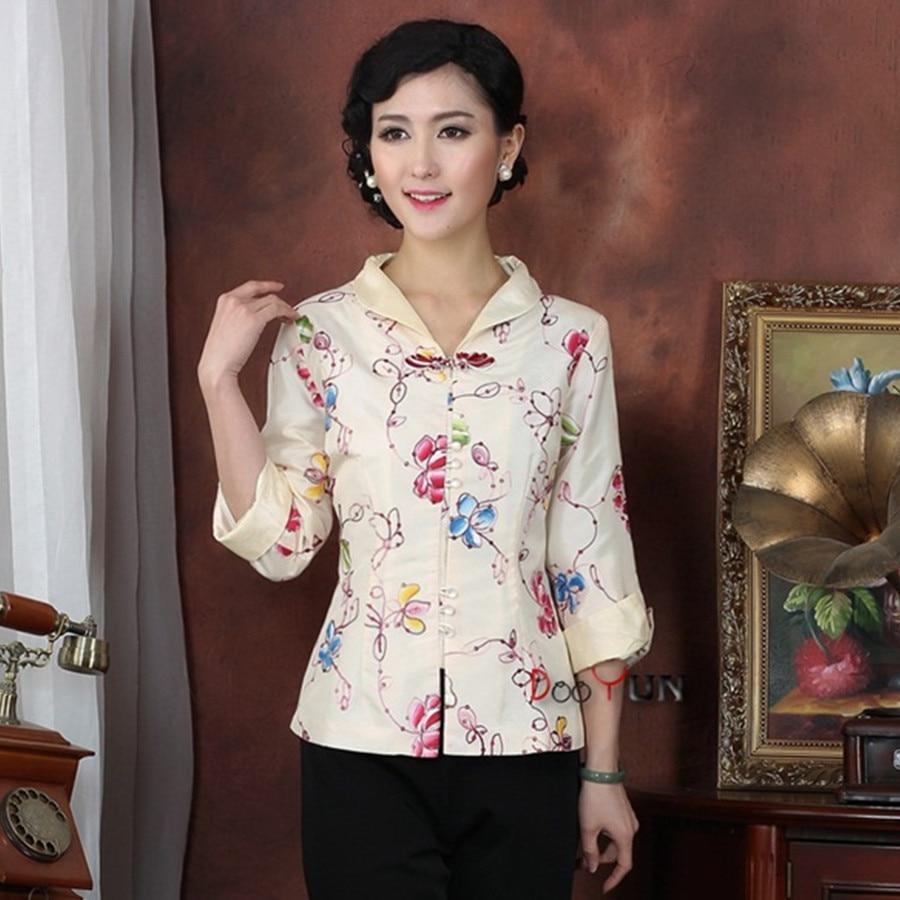 Blanc Chinois Femmes de Satin À Manches Longues Veste Classique Style  Turn-down collar Broderie Floral Tang Costume Manteau Taille S-3XL e7587b2a4b85