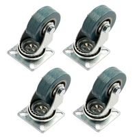 4 X Heavy Duty 50x17mm Rubber Swivel Castor Wheels Trolley Furniture Caster Brake