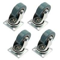 4 X Heavy Duty 50x17mm Rubber Swivel Castor Wheels Trolley Furniture Caster Brake