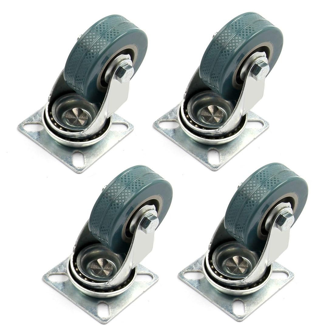 4 X Heavy Duty 50x17mm Rubber Swivel Castor Wheels Trolley Furniture Caster  Brake(China (