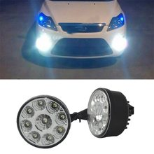 New 2 X Super Bright White 9 LED Head Front Round Fog Light for all Car DRL Off-road Lamp Daytime Running Lights Parking Lamp(China)