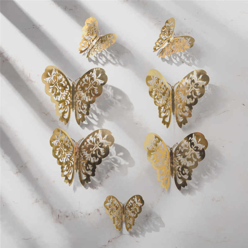 12pcs 3D Hollow Butterfly Wall Sticker For Home Decor DIY Butterflies Fridge Stickers Party Wedding Decor Bedroom Decoration Hot