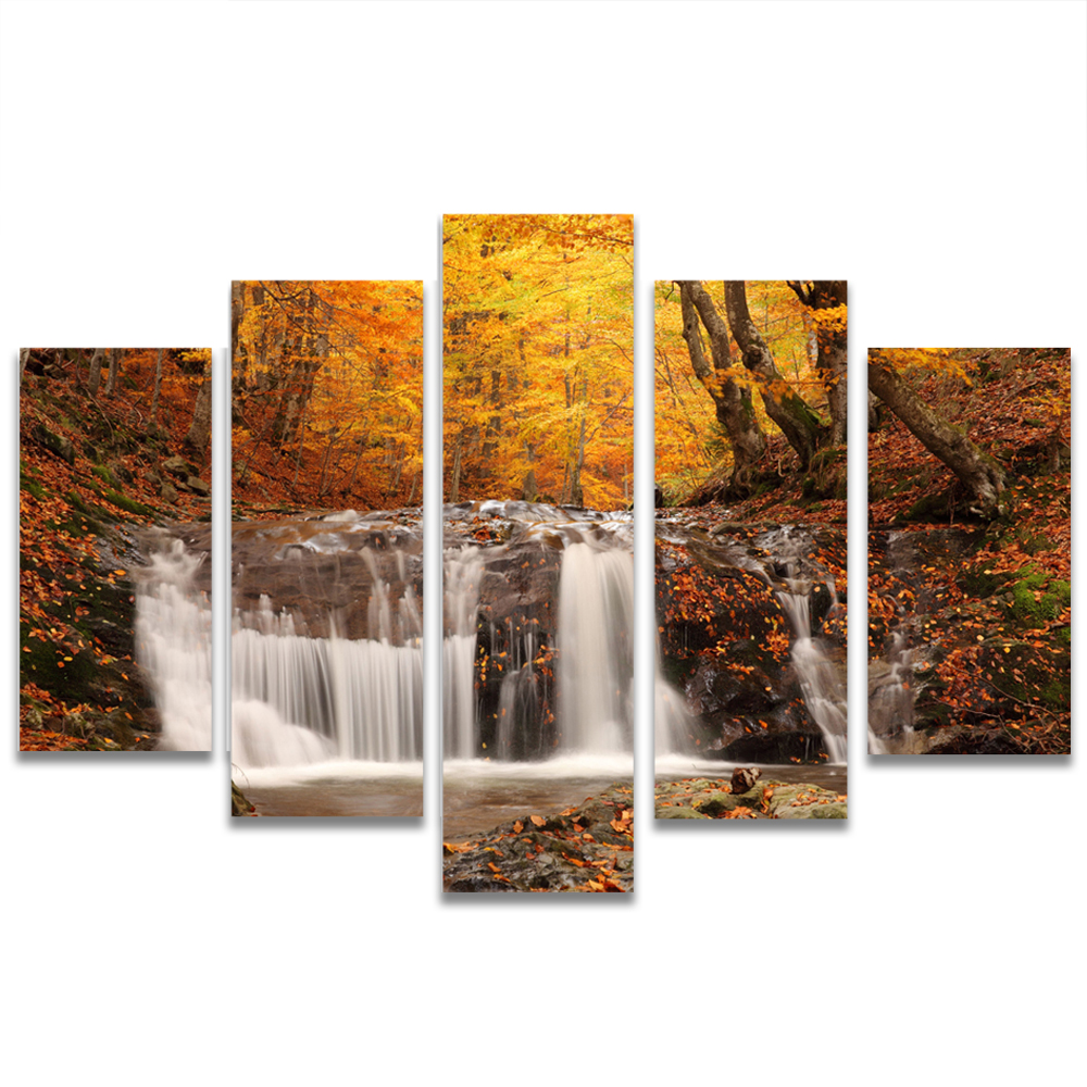 Unframed Canvas Painting Fall Deep Forest Creek Deciduous Photo Picture Prints Wall Picture For Living Room Wall Art Decoration