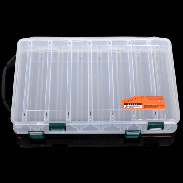 Trulinoya High Quality 27*18*4.7cm Double Layer Fishing Lure Box Accessories Hard Soft Lure Bait Fishing Tackle Box