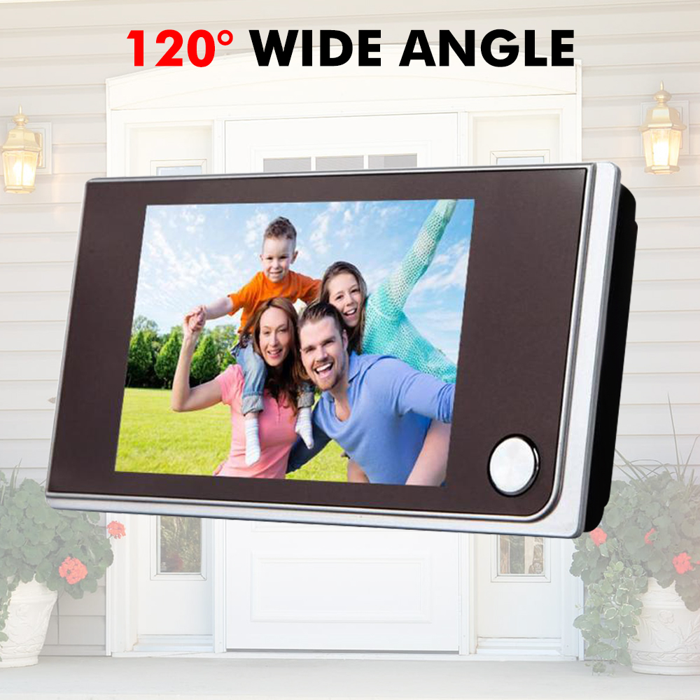 3.5 Inch LED Digital Door Camera Video Peephole Viewer Cat Eye Doorbell Camera Zoom Video Eye Recorder 120 Degree