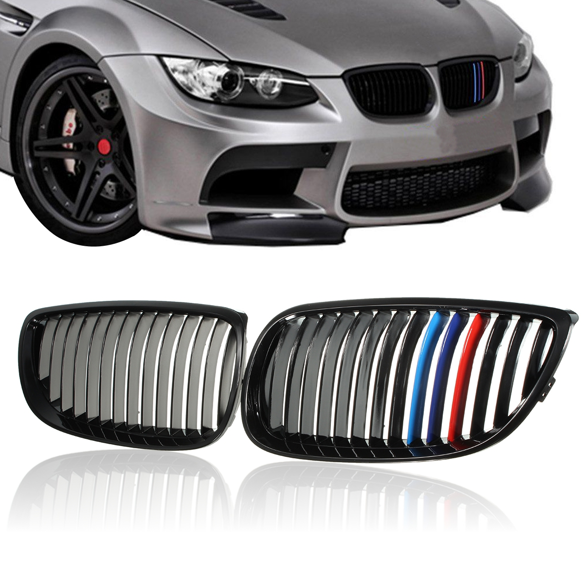 Pair Left Right Side Gloss Black Car Front Grilles Grill M color For BMW E92 E93