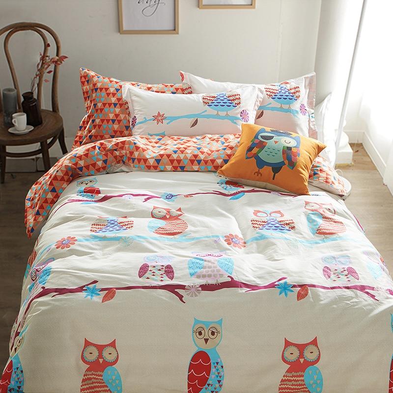 100 Cotton Bedding Sets Owl Luxurious Duvet Cover 4pcs Bedlinen Bedclothes Sheet Bed Set Linen
