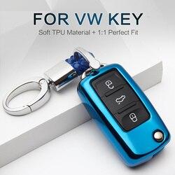 TPU Araba Anahtarı Durum Kapak Için Volkswagen VW Polo Passat B8 B5.5 T5 CC Tiguan Jetta 6 Scirocco Sharan golf 7 3 4 Anahtar Aksesuarları