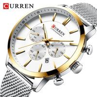 CURREN Mens Watches Fashion Stainless Steel Quartz Sport Wrist Watch Men Luxury Chronograph Military Waterproof Wristwatch Clock