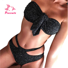 Pacento Sexy Swimwear Female Shiny Sequin Bling Chest Knot Bandeau High  Waist Women. US  11.91   piece Free Shipping 532b4a28cf91