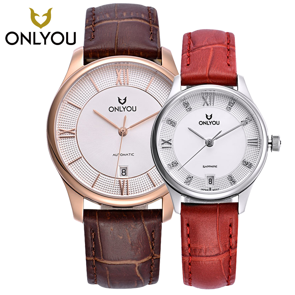 ONLYOU Watches Mens automatic Mechanical Watch AUTO Date Self-Winding Analog Brown Leather Man Wristwatch Leisure Lovers Watches t winner automatic watch mens trendy mechanical auto windding silicone band wristwatches modern elegant analog hollow clock gift