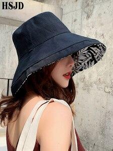 Image 5 - Summer Women Double sided Flower Print Cotton Sun Hats Ladies Fashion Wide Brim Foldable Sun Bucket Hats Anti UV Beach Hat Caps