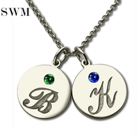 Women Sterling Silver 925 Necklace Custome Letter Initial Necklaces Couple Chain Disc Pendants Birthstone Jewelry for Lover