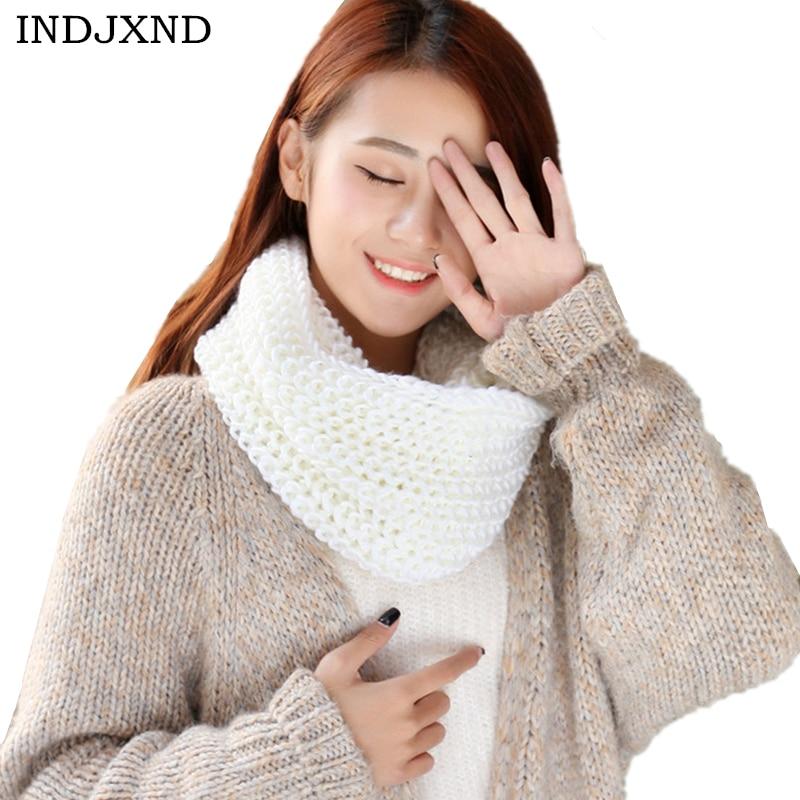 INDJXND New Women Fashion Warm Autumn Winter Boy's Girl's Knitted Circle Wool   Scarf   Shawl   Wrap   Winter Warm Collar Pashmina   Scarf