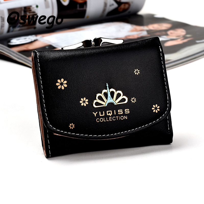 2017 Korean Style Women Leather Mini Wallet Short Clutch Purse  Female Purse Coin Card Holder Dollar Bag