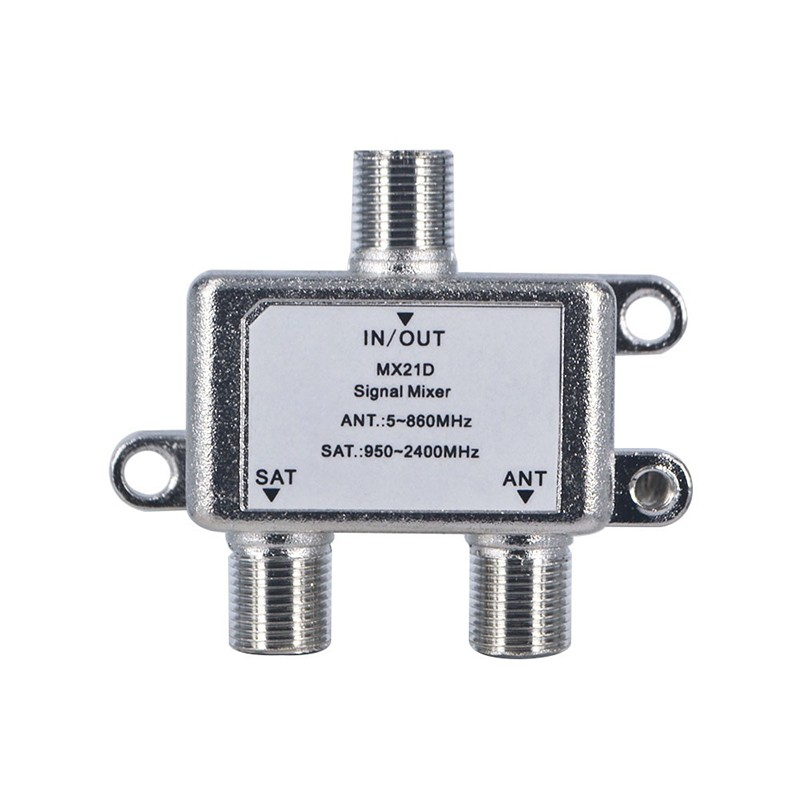 2 In 1 2 Way Satellite Splitter TV Signal Cable TV Signal Mixer SAT/ANT Diplexer Combiner UHF/VHF Separating RF Signals