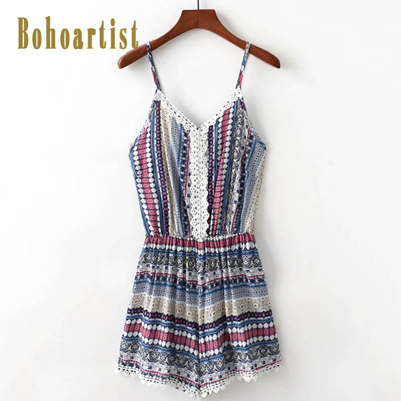 Bohoartist women jumpsuit summer wrinkles stitching lace slings prints beach vacation short sexy ladies summer jumpsuit new