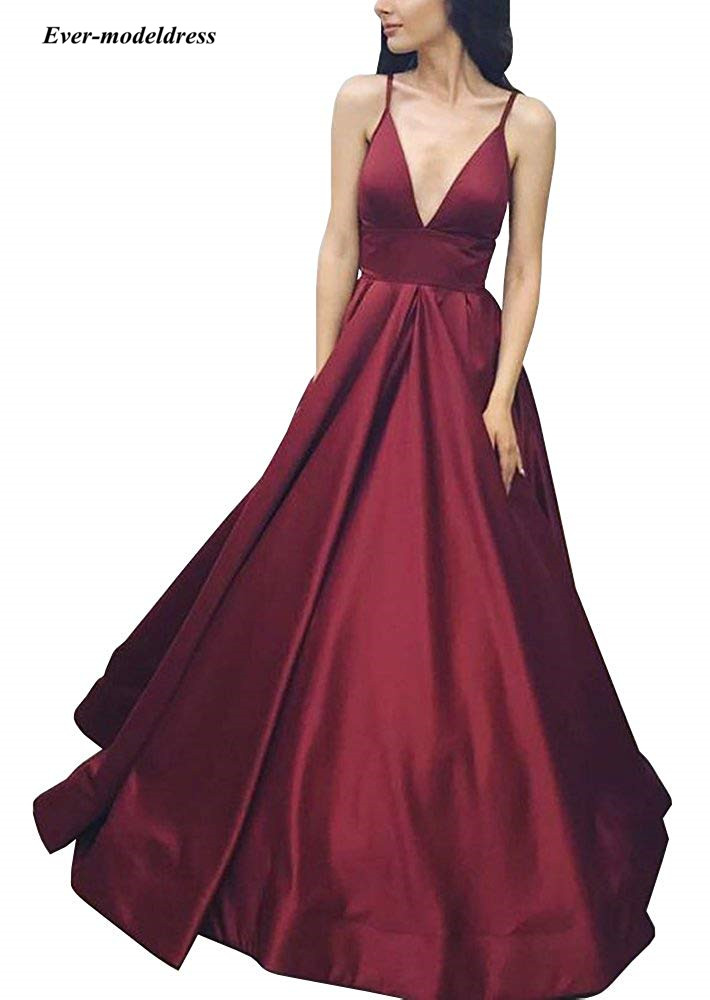2019 Simple   Prom     Dresses   with Pocket Spaghetti Pleats A Line Floor Length Royal Blue Burgundy Evening Party Gowns Robe De Soiree