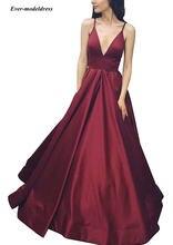 2021 Простые платья на выпускной с карманами спагетти плиссированные
