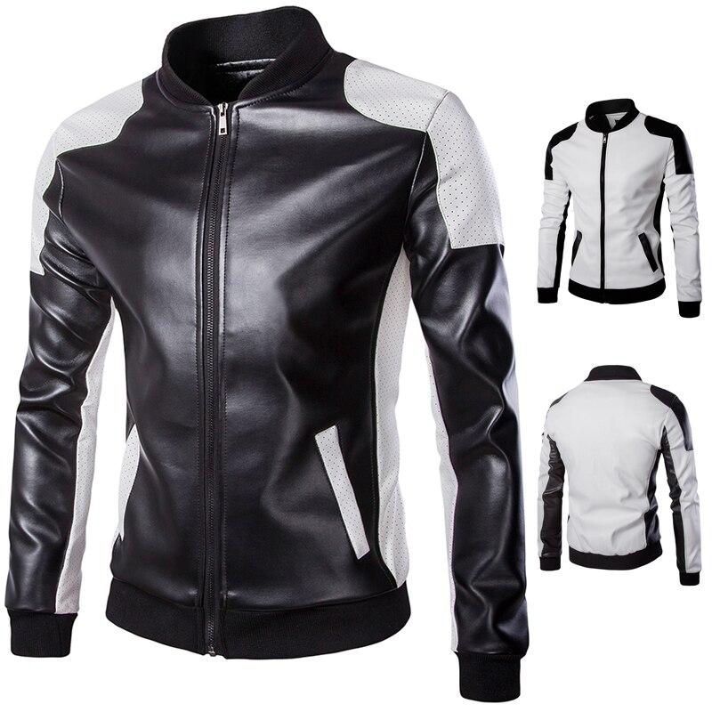 Grande taille hommes vestes en cuir cuir et daim nouveau mâle hip-hop Style moto cuir manteaux taille 4XL vestes - 5