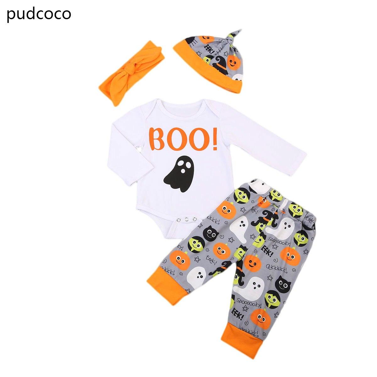 Boo Halloween Del Bambino Scherza I Vestiti Set Ragazze Dei Neonati Manica Lunga Pagliaccetti Stampa Pantaloni Fascia Cappelli Abiti Bambini Che Coprono Impostato