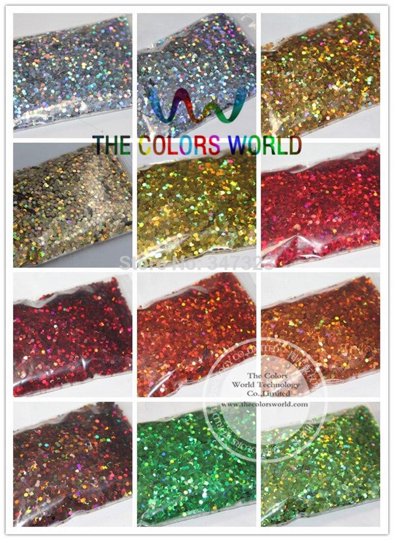24 couleurs holographiques Laser paillettes 2 MM pour décoration d'ongle et bricolage décoration 1 Lot = 50g * 24 couleurs = 1200g