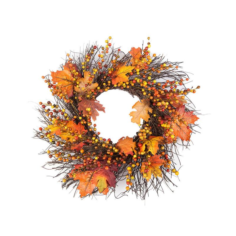 50cm Berry Fall Maple Leaves Wreath Garland Fake Artificial Flower Thanksgiving Day Home Autumn Fall <font><b>Decoration</b></font>