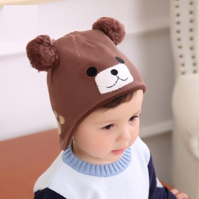 Lindo oso sombrero hecho punto Niño del casquillo del oído niños niñas  gorros Otoño Invierno tejer ced98f3e53a