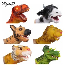Hot Sale PVC Animal Animal Head Figure Dinosaur Tiger Lion Cow Dog Hand Puppet Gloves Model Children Holiday Gift Free Shipping