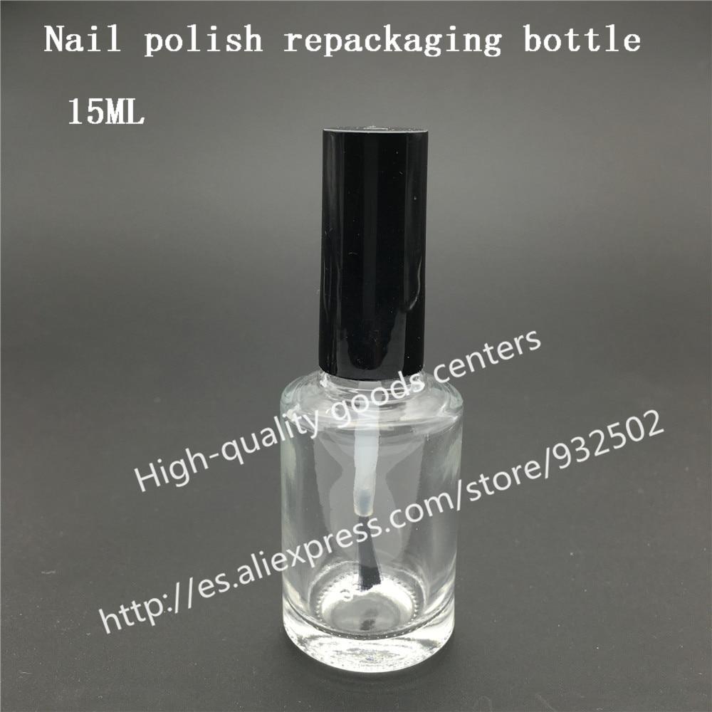 Free Shipping 40pcs 15ml round nail polish bottle bottles with white black lid Small Glass Nail