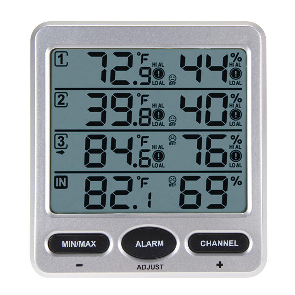 WS-10 LCD Digital Thermometer Hygrometer Ambient Weather Wireless Indoor/Outdoor 8 Channel Thermometer Hygrometer mini 2 0 lcd car indoor thermometer hygrometer black 10 c 50 c 20% 95% rh 1 x lr44