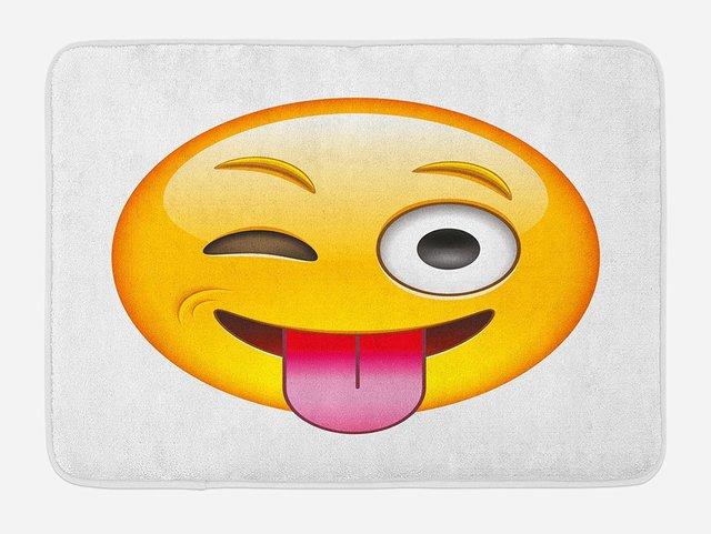 cee098c15ca3 Emoji Bath Mat Cartoon Like Technologic Smiley Flirty Sarcastic