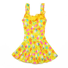Girls One Piece Swimsuits Skirt Suit Print Flowers Children Swimwear Princesss Kids Beach Dress Bathing Suits Hot Spring Clothes