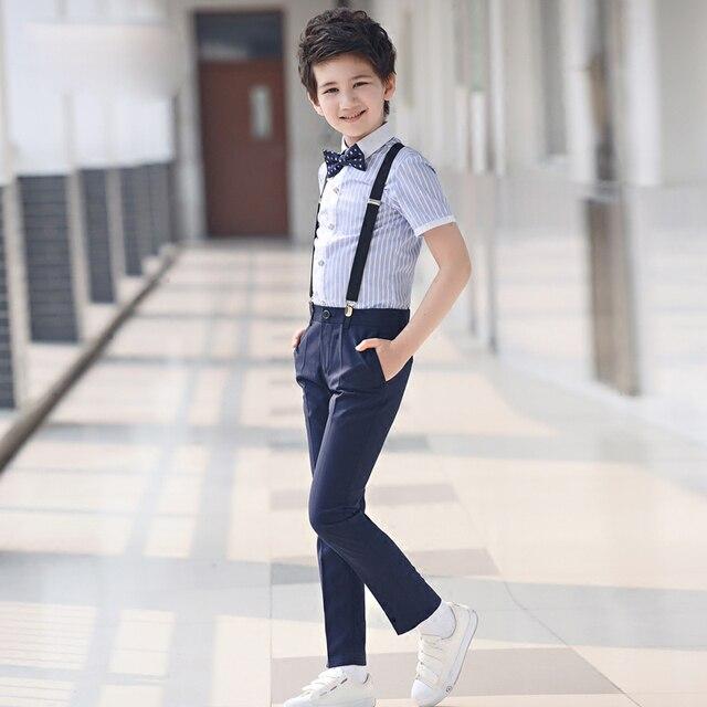 4 pcs/ensemble de mode Enfants de vêtements ensembles rayé chemises formelles shorts noir costumes jarretelles pantalon étudiant vêtements pour garçons 1