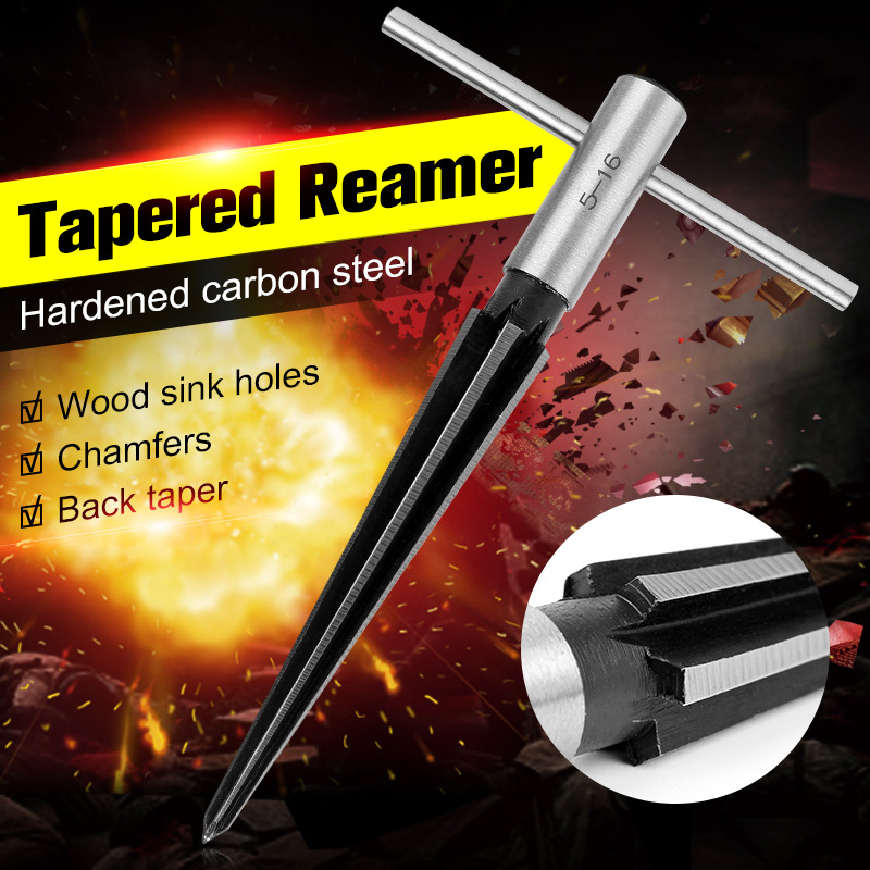 5-16mm Bridge Pin Hole Hand Held Reamer Steel T Handle Tapered 6 Fluted Chamfer Reaming Woodworker Cutting Core Drill Bit Tool