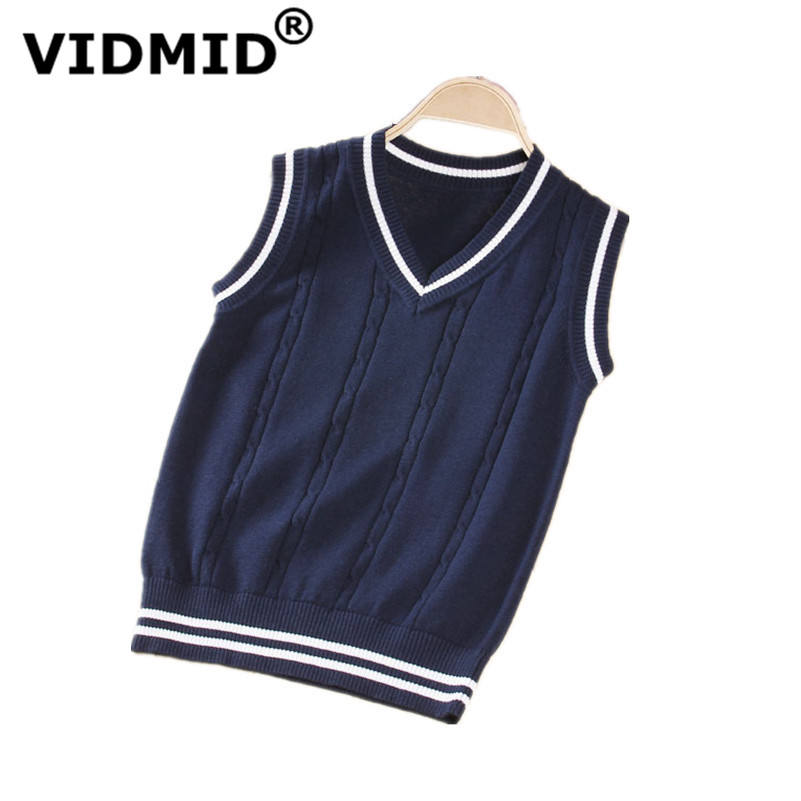 VIDMID Hot Sale Autumn Winter V-neck Baby Boys Knitted Vest Cardigan School Uniform Style Sweater Children's clothing 7012 02