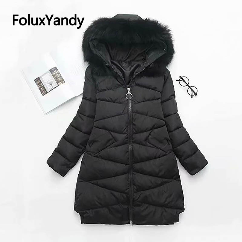 Real Fur Collar Parkas for Women Casual Winter Coats Plus Size Warm Thick Slim Hooded Long