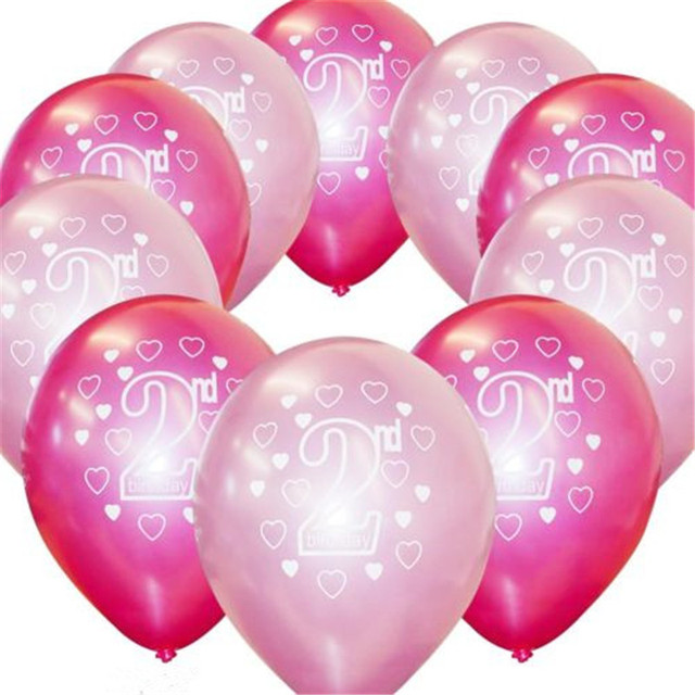 10pcs Lot 2 Years Old Happy Birthday Balloons Girl Boy Birthday