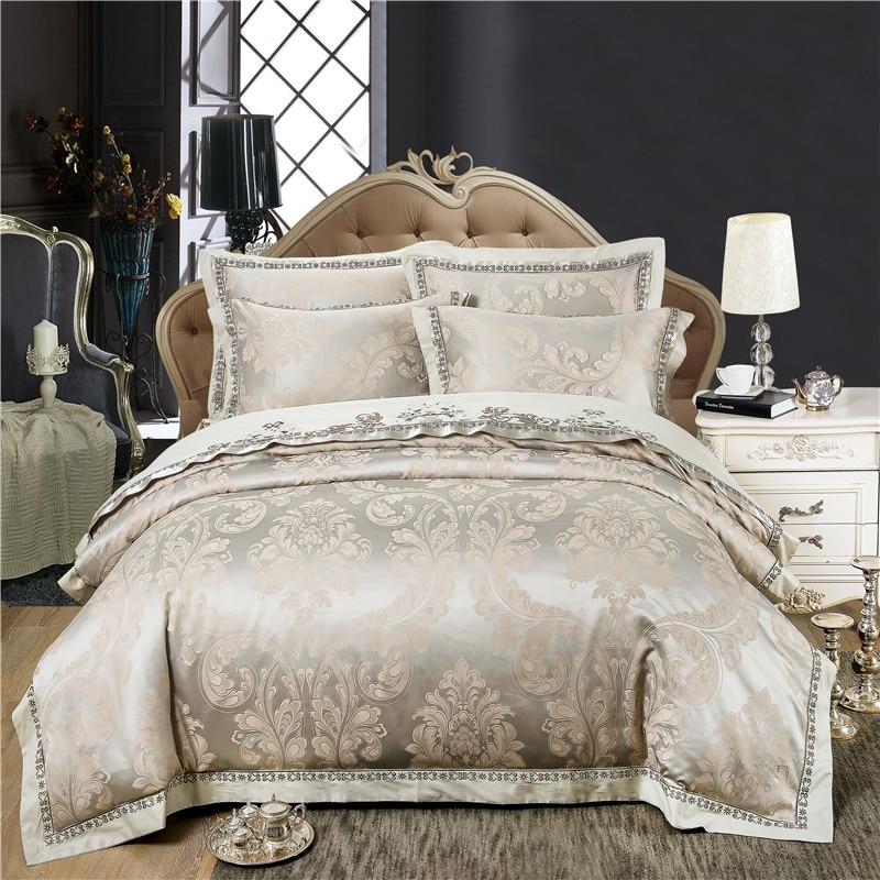 Luxury Bedding Set Jacquard Satin Silk 100% Cotton Bed Set Queen King Size Bed Sheet Set Duvet Cover Bedclothes Soft Bedlinens
