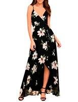 New Summer Maxi Dress Women Floral Print Dress V Neck Sleeveless Spaghetti Strap Backless Side Split
