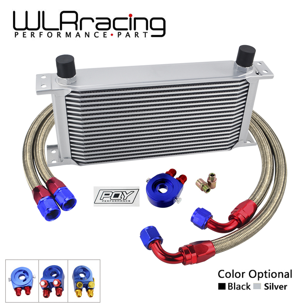 WLR - UNIVERSAL 19 ROWS OIL COOLER+OIL FILTER SANDWICH ADAPTER + SS NYLON STAINLESS STEEL BRAIDED AN10 HOSE WITH PQY STICKER+BOX vr universal 10 rows trust type oil cooler oil filter adapter nylon stainless steel braided an10 hose w pqy sticker box