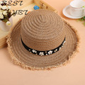 Korean version of flash large brimmed straw hat flat-topped hat cute summer wind breathable straw hat