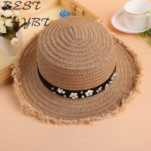 Versión coreana de flash de gran sombrero de paja de ala ancha sombrero plano cubierto lindo viento de verano transpirable sombrero de paja