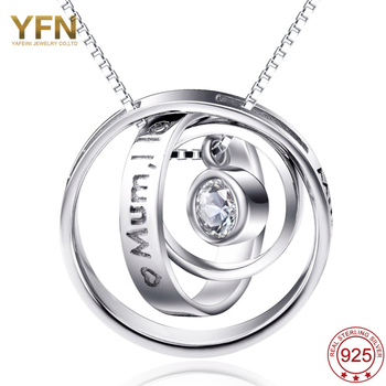 925 Sterling Silver Interlocking Circles Pendant Necklace With Mum's Love Fashion Jewelry