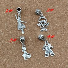 100pcs/lot Dangle Ancient silver Mixed girl Charm Big Hole Beads Fit European Charm Bracelet Jewelry 4 Style A-343a цена