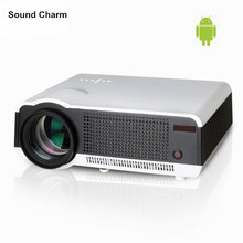 Proyector LED brillantes 5500 lúmenes Full HD 1080 p Android 4,2 RJ45 LCD 3D Wifi smart home cinema TV proyector con 2 HDMI USB,