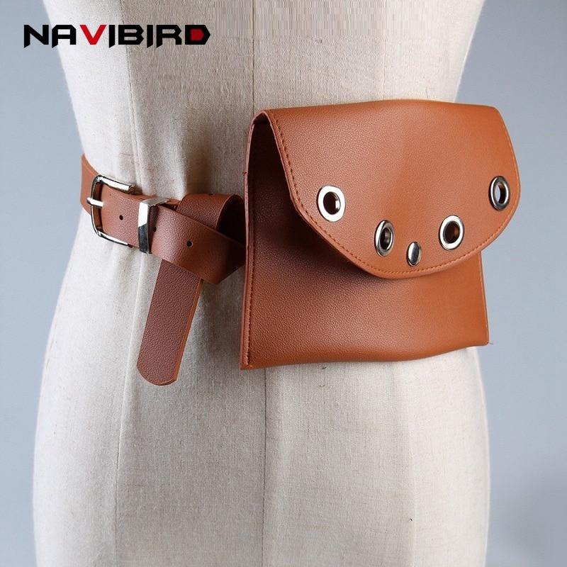 New Punk Hollow Out Wallet Bag Women'S Belts Metal Pin Buckle Corset Belt Riem Pu Leather Waist Bags Cinto Feminino riem