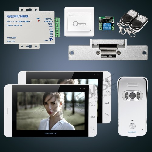 HOMSECUR 7 Video Door Entry Security Intercom+Monitor for House/Flat:1C2M+L1:TC021-S Camera(Silver)+TM703-W Monitor(White)+Lock